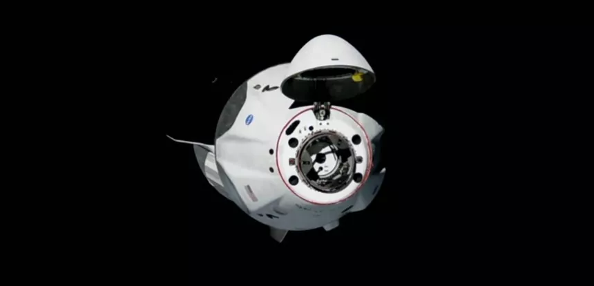 SpaceX Crew Module about to dock at ISS