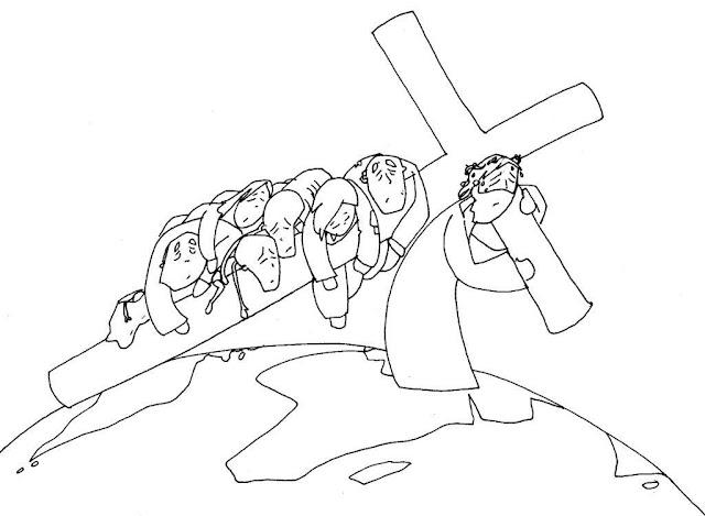 Jesús cargado con su cruz paracolorear