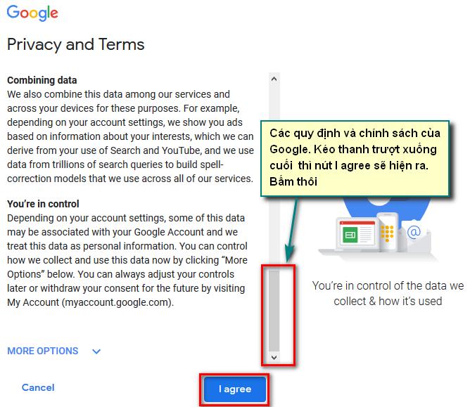 Chính sách sử dụng của tài khoản Google