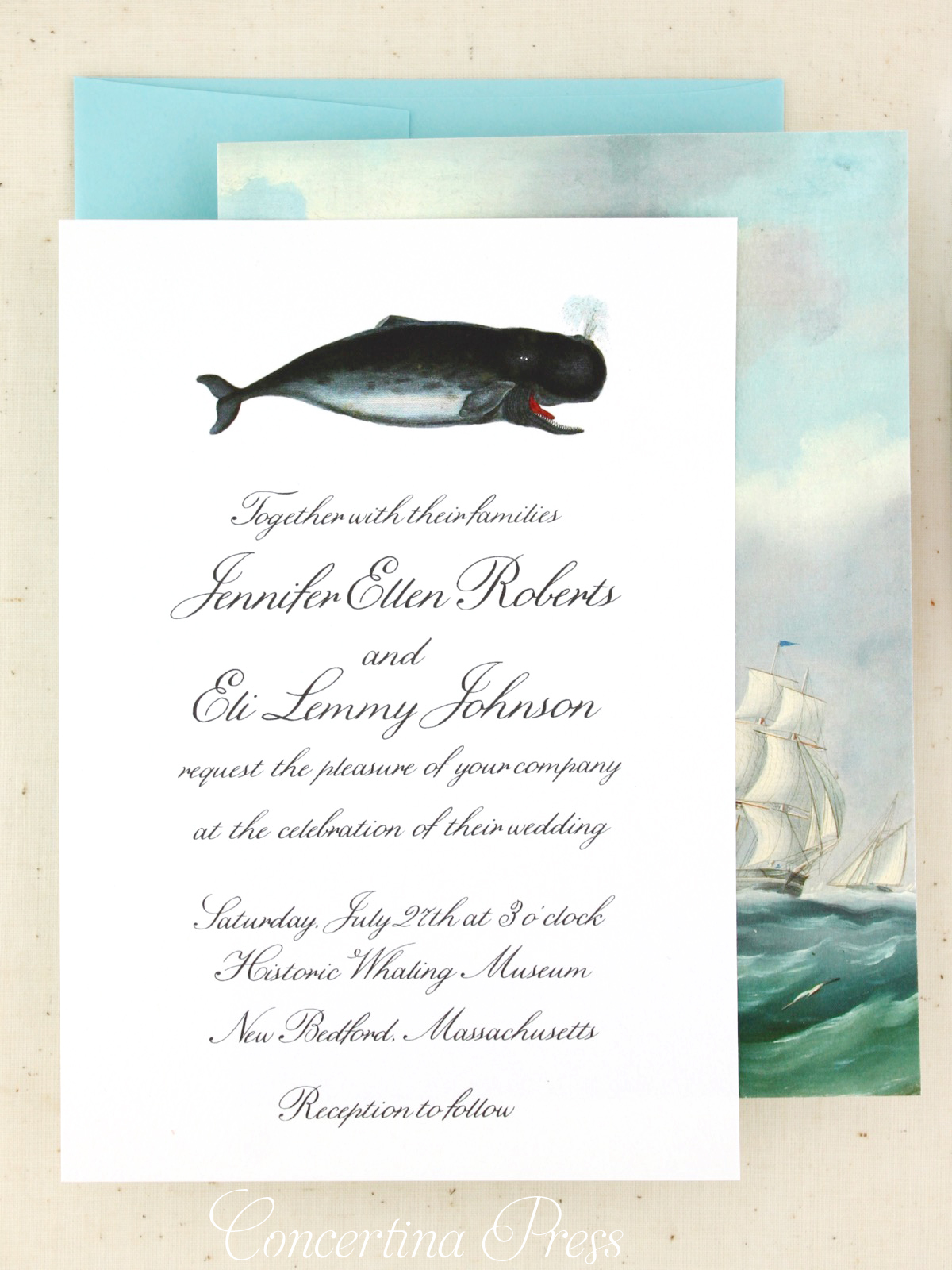 Whaling Museum Nautical Wedding Invitations from Concertina Press