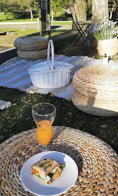 Sanduiche e copo de sumo em área de piquenique