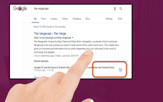 الآن يمكننا تشغيل بعض البودكاست مباشرة من محرك بحث غوغل