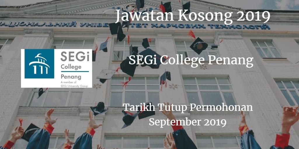 Jawatan Kosong SEGi College Penang September 2019