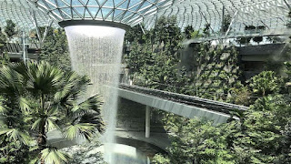 Singapore is home to the world's tallest indoor waterfall, which pumps 10,000 gallons of water per minute