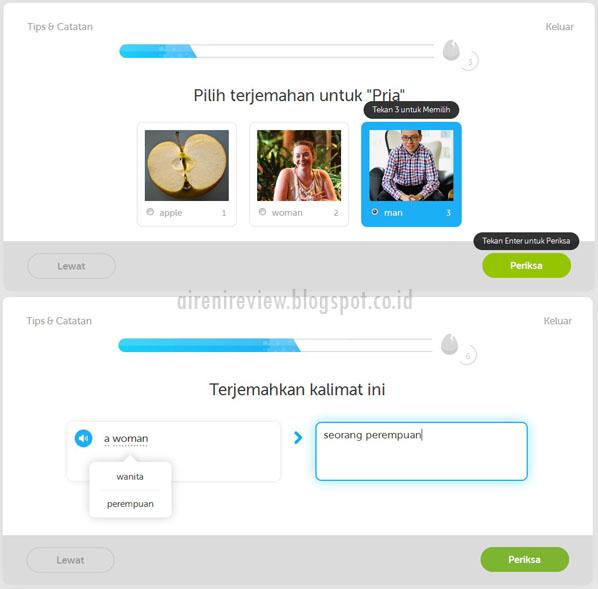 Duolingo App dasar 1 pelajaran 1