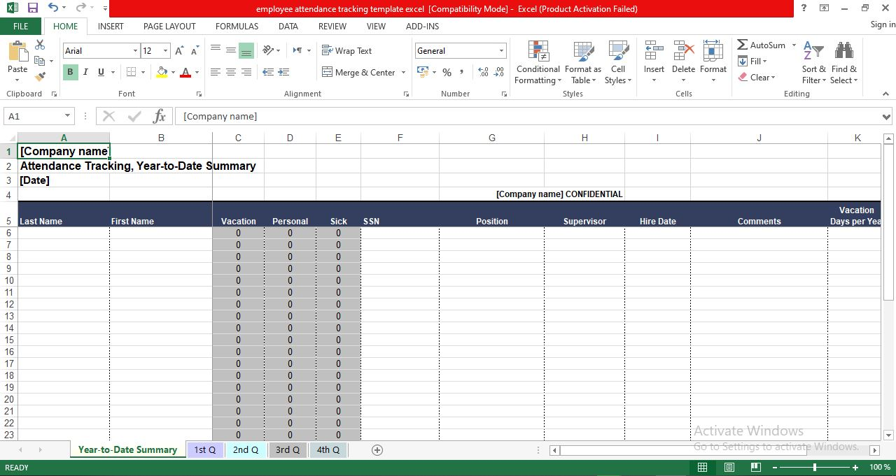 Employee attendance tracking template excel