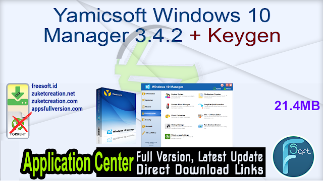 Yamicsoft Windows 10 Manager 3.4.2 + Keygen