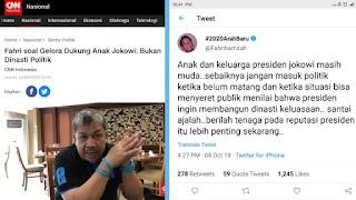 Anak dan Mantu Jokowi Disebut Bukan Dinasti Politik, Tweet Lama Fahri Timbul Kembali