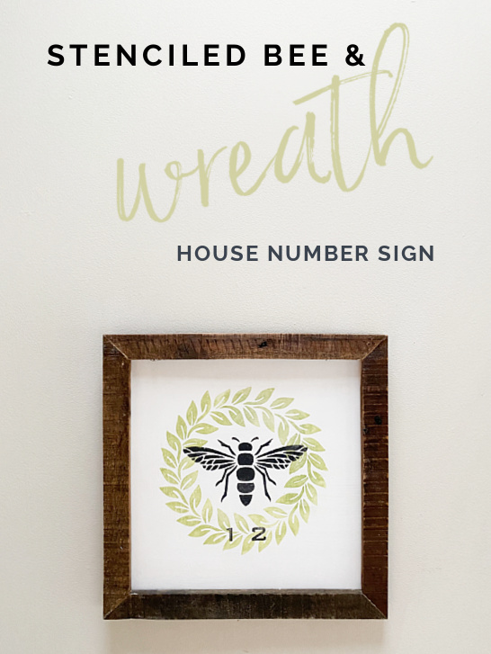 bee and wreath framed sign with overlay