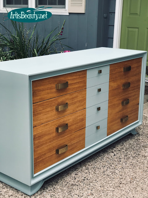 MCM dresser modern update using milk paint