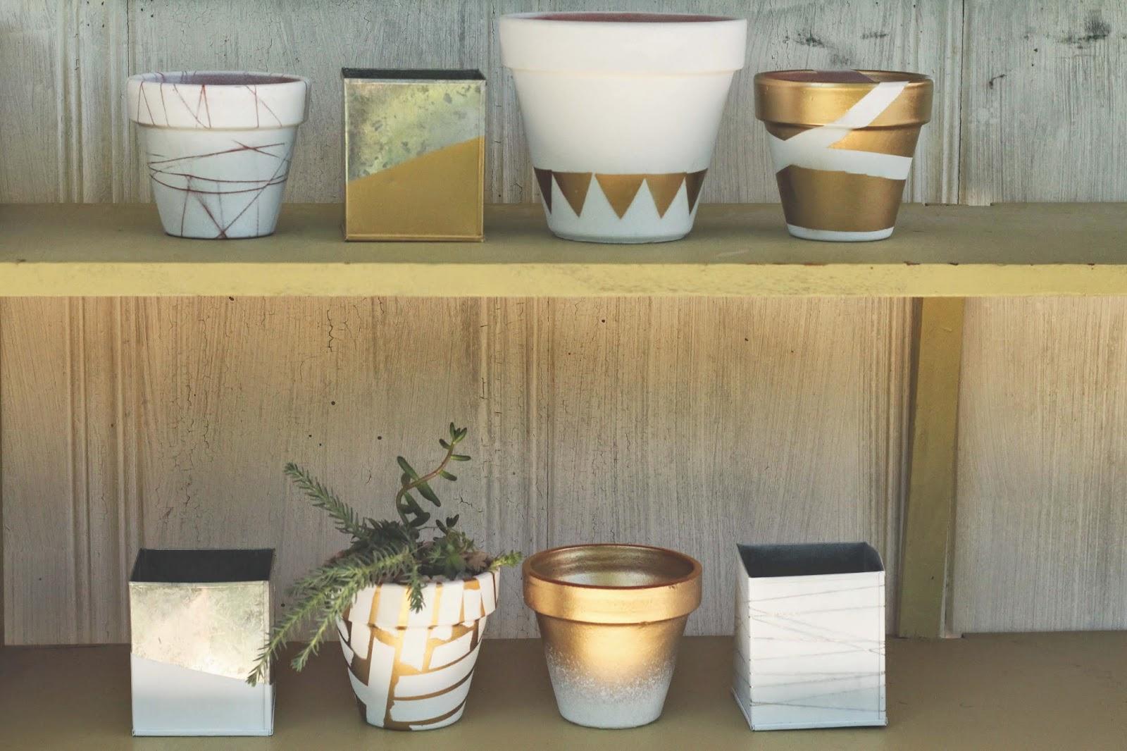 diy: spray painted pots