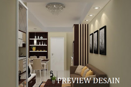 Jasa design rendering 3dmax interior living room menyatu dengan pantry
