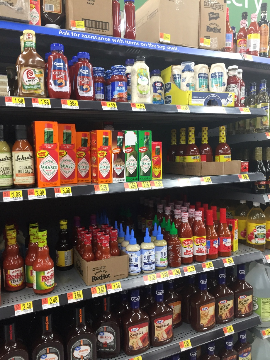 Hot sauce on shelf
