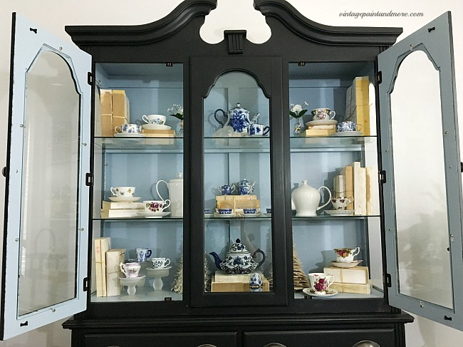 Vintage Paint and more... A pop of blue paint added to the inside of a trendy modern farmhouse china cabinet