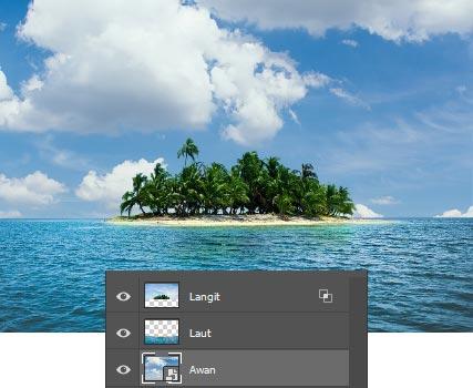 Pengaturan foto langit pengganti termasuk posisi layer