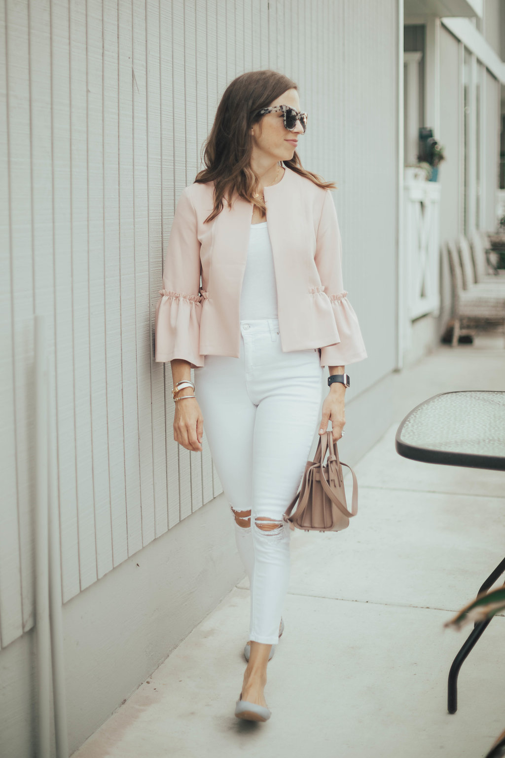 blush and white outfit