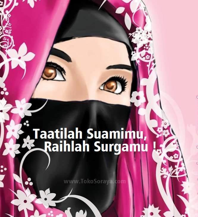 Gambar Kartun Wanita Berjilbab Niqab Taatillah Suamimu Raihlah Surgamu