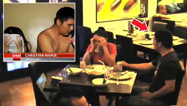 The news report was seen in a public place where the couple was eating.