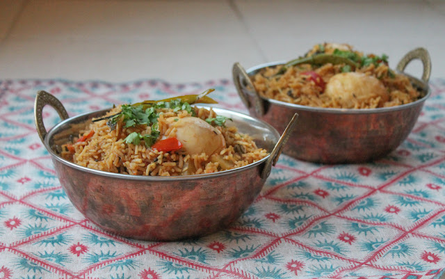 Food Lust People Love: Spicy egg biryani is the perfect balance of fragrant rice and mellow boiled eggs, great as a vegetarian main dish or as a side to be served with a meat-based curry.