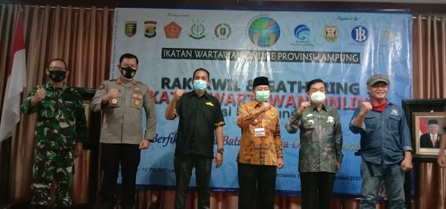 Kombes Pol. Zahwani Pandra Arsyad, M.Si Mewakili Kapolda Lampung Hadiri Rakerwil Ikatan Wartawan Online Lampung 2020