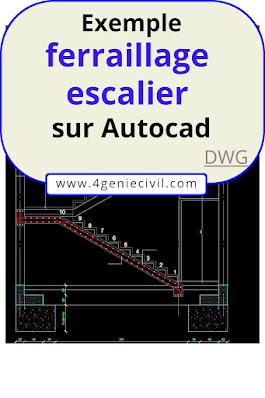 ferraillage escalier dwg, ferraillage poutre dwg, ferraillage poteau dwg, ferraillage fondation dwg
