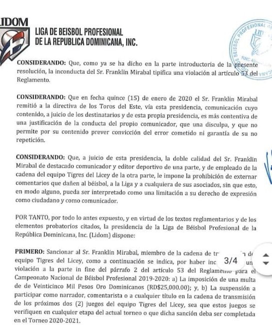 LIDOM suspende a Franklin Mirabal
