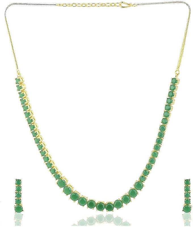 Ratnavali Jewels American Diamond CZ Gold Plated Designer Jewellery Set for Women (Green)