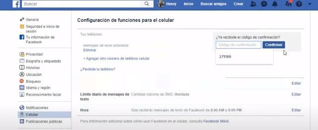 al agregar el código de confirmación de facebook en tu cuenta ya podrás proteger tu cuenta en caso de que te la quieran robar