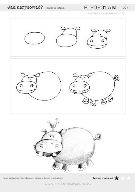 004 Jak narysować HIPOPOTAMA? Krok po kroku