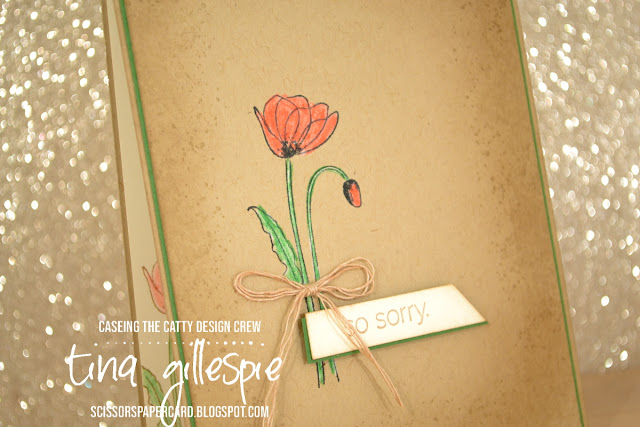 scissorspapercard, Stampin' Up!, CASEing The Catty, Painted Poppies, Genuine Gems, Peaceful Moments, Watercolour Pencils