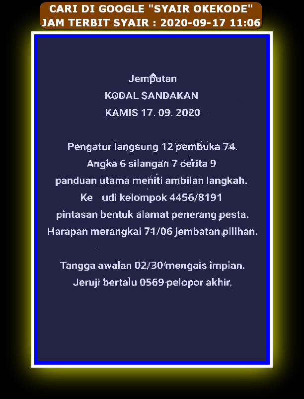 Kode syair Singapore Kamis 17 September 2020 100