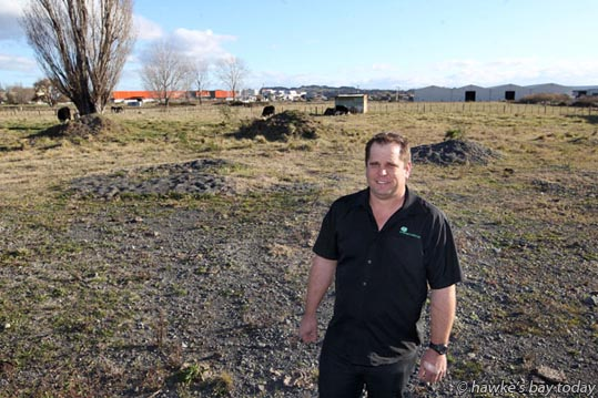 Shane Dooney, Napier site manager, Container Co (NZL Ltd), on the new site for their container park at the end of Mersey St, Pandora, Napier, to be relocated from its current site in Tangaroa St, Ahuriri, Napier. photograph