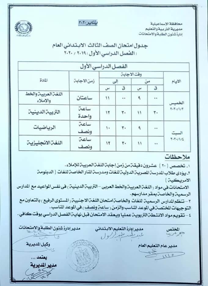 جدول امتحانات الصف الثالث الابتدائي نصف العام 2020 محافظة الإسماعيلية