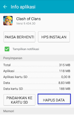 Hapus Data Clash Of Clans