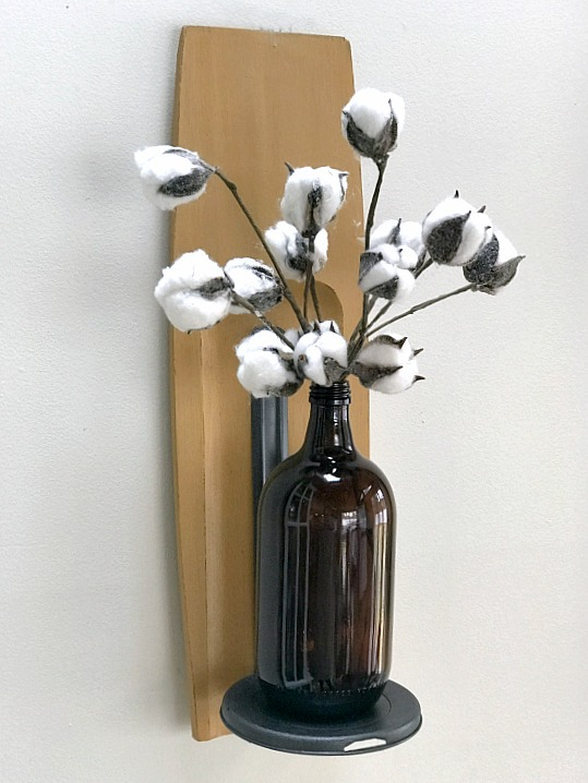 wall shelf with recycled vase