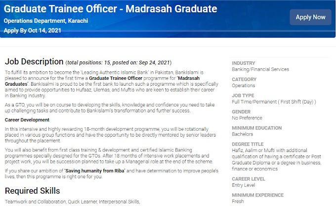 Bank Islami Pakistan Limited Jobs 2021