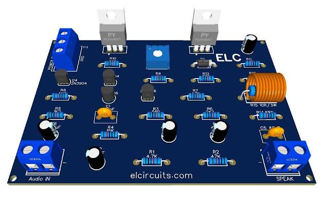 Amplificador de Audio 50W RMS com Mosfets IRF530 e IRF9530 + PCI