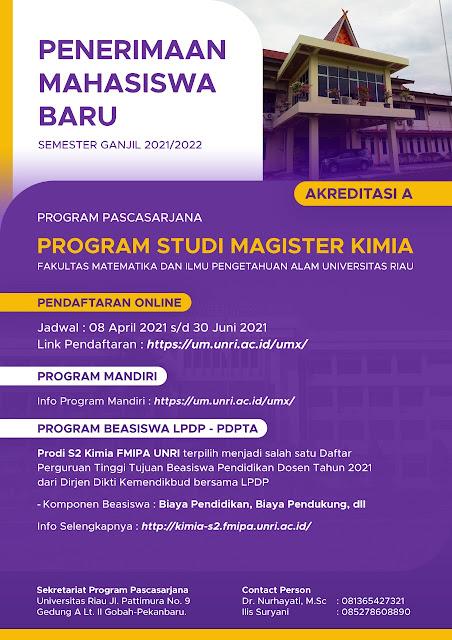 Beasiswa LPDP bagi Dosen dan Guru di Prodi S2 Kimia Universitas Riau Tahun 2021