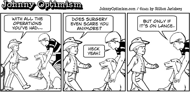 johnny optimism, medical, humor, sick, jokes, boy, wheelchair, doctors, hospital, stilton jarlsberg, lance, ladybug, surgery, veterinarian, tplo
