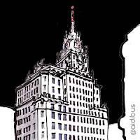 ilustracion edificio telefonica de noche