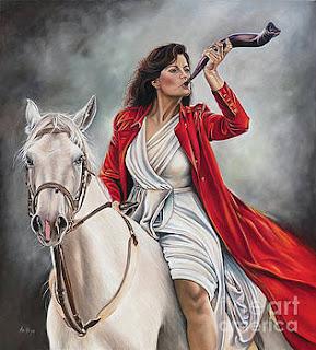 pinturas-al-óleo-de-chicas-y-corceles-blancos cuadros-mujeres-y-caballos-blancos