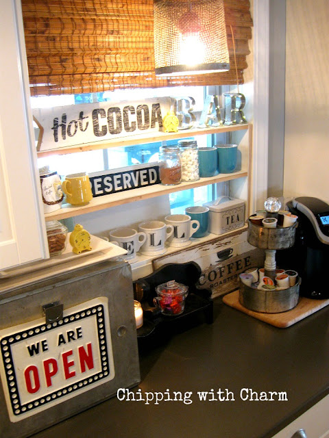 Chipping with Charm...Hot Drink Station using Old Sign Stencils...www.chippingwithchar.blogspot.com