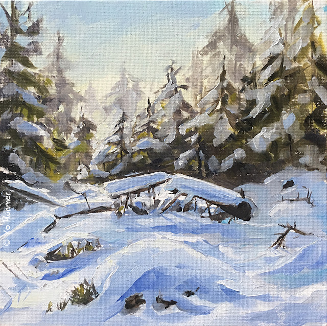 snowpainting, Taunus, oilpainting, pleinairpainting