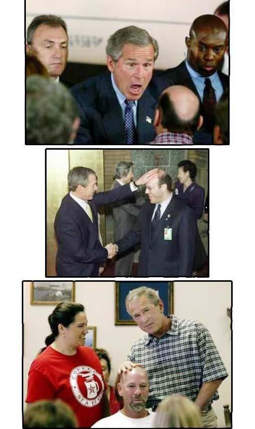 Lustige Politiker Bilder Wahlkampf mit Glatzköpfen