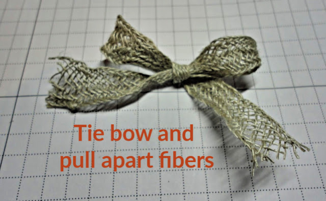 Tie bow with Braided Linen Trim and pull apart fibers to create rustic look - Nicole Steele The Joyful Stamper