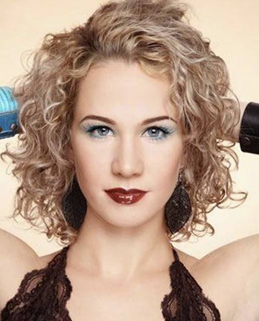 Blonde hair color short curly bob hairstyles