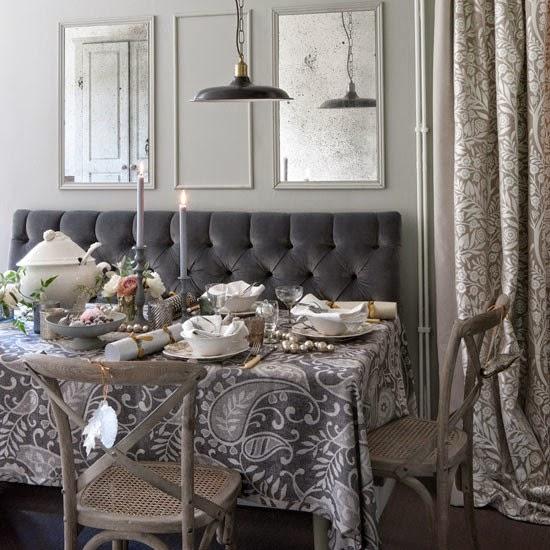 Mesas de navidad en gris y blanco colores en casa - Mesa navidena ...