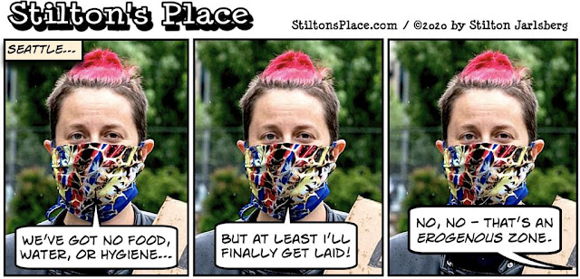 stilton's place, stilton, political, humor, conservative, cartoons, jokes, hope n' change, BLM, protests, Seattle, race, rapper, autonomous zone, erogenous zone, garden, Chaz, Chop, Assholes