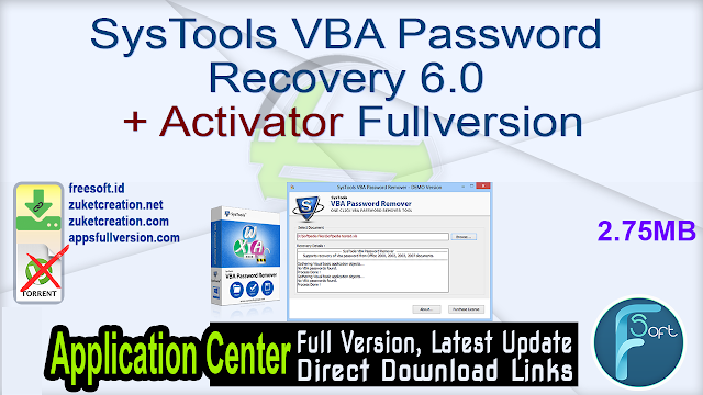 SysTools VBA Password Recovery 6.0 + Activator Fullversion
