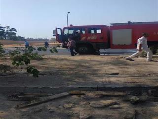 بالفيديو حريق خط بترول على طريق الإسماعيلية الصحراوي